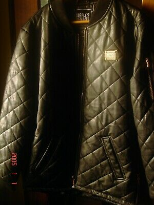 Imposing,Supply & Demand,black quilted leather look jacket with golden trim.in l