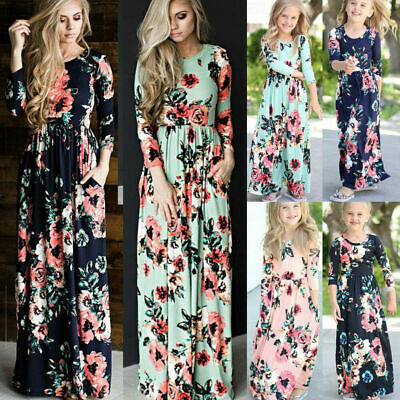 Mother and Daughter Family Matching Floral Print Dress Long Sleeve Long Dress