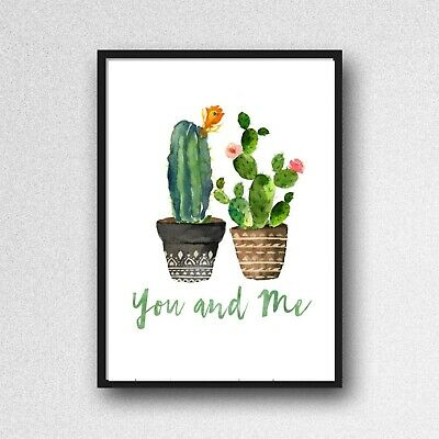 cactus you and me print PICTURE botanical plant A4 unframed wall art gloss 220