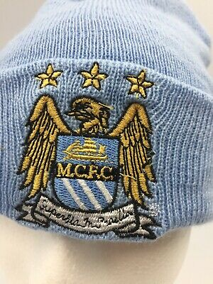 Manchester City FC Knitted Bronx Beanie Official Turn Up Cuff Sky Blue Hat