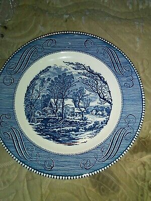 Currier Ives Royal China Blue White Dinner Plate The Old Grist Mill  902bft