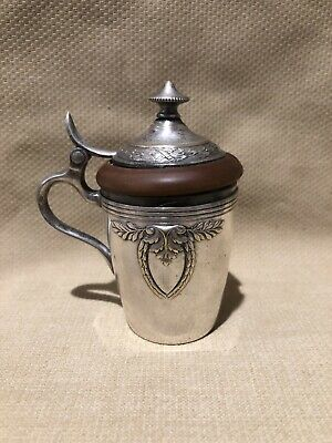 """Early 20th style Louis XVI Mustard Pot """"WMF""""  Silver Plated - Olive Wood glass"""
