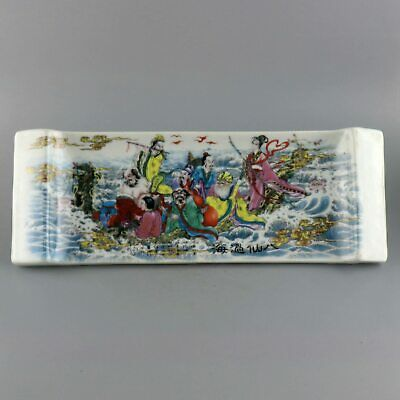 Collectable Handwork China Old Porcelain Paint Eight Immortal Auspicious Plate