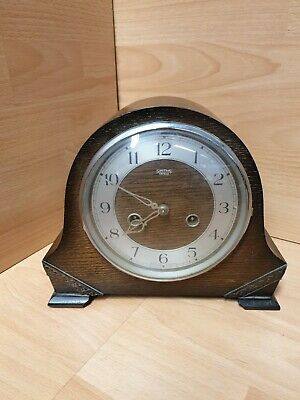 SMITHS ENFIELD CHIMING  MANTLE CLOCK. Oak for parts or repair