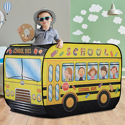 Kids School Bus Play Tent 2 top openings and a Door Pop-up Portable & Foldable