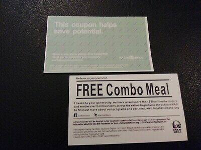 Taco Bell Combo Meal Voucher***, EXPIRES 12-31-2020, Shipping 1 Business Day