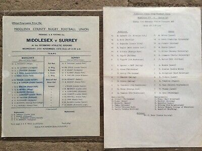 MIDDLESEX V SURREY 1976 v SUSSEX UND 21 1984