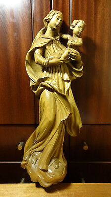 """☩ Vintage 18"""" Carved Wooden Our Lady Mary Madonna + Jesus Wall Relief Statue ☩"""