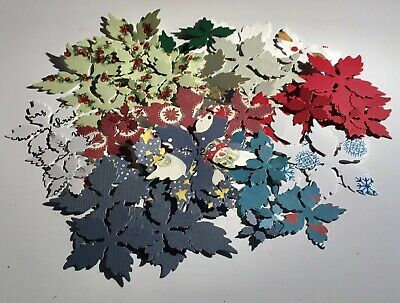 Over 50 Paper Christmas Poinsettia Flowers Set 12