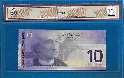 2001- $10 From The Bank Of Canada Graded Bcs Unc-60 Original