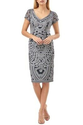 NWT Womens JS Collections Navy Gray  Soutache Mesh Cocktail Dress Sz 10 US $248