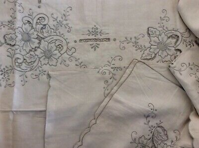 Vintage Ecru Embroidered Large Unused Tablecloth 220cm X 170cm