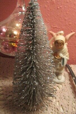 NEW Sparkling Silver Bottle Brush Christmas Tree Wooden Base Village Displays