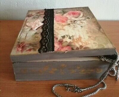 WoodenVintage box, origina gift, Memory Box, jewellery, hand crafted and painted