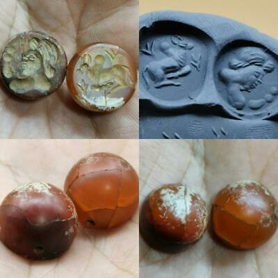 2 pcs Agate Near Eastern intaglio Seal stone Lovely BEAD    # 74