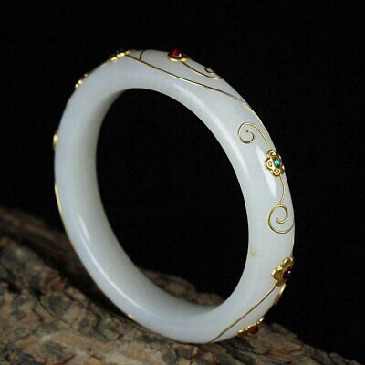 Chinese Exquisite Hand carved Hetian jade mosaic gold bracelet