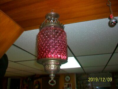 Antique Hanging  Oil Lamp Fenton Cranberry Hobnail Shade Brass Tone Frame Chain