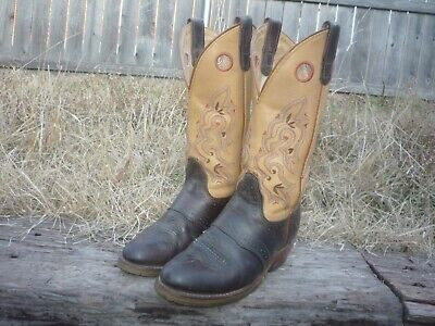 Women's 6.5 B M Double-H Brown & Tan Round Toe ICE Cowboy Boots DH5255