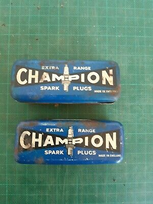 Vintage CHAMPION spark plugs in tins x2, instructions included Lot 2