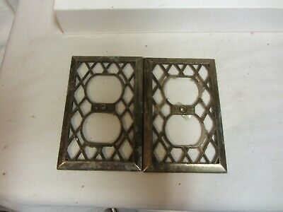 2 Vintage Brass Electrical Outlet Plate Covers