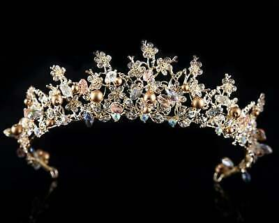 Gold Bridal Headpiece Vintage Tiara Crown Headpieces Hair Crown Headband Earring