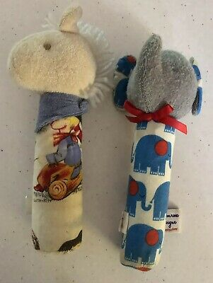 2 X Alimrose Baby Rattled. Horse & Elephant Retro Design. Collect Or Post