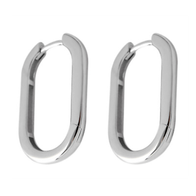 Solid 925 Sterling Silver Long Plain Shiny Oval Square Hoop Huggie Cuff Earrings
