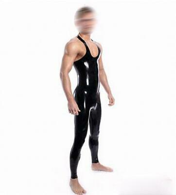Unisex Latex Rubber Catsuit Schwarz Sleeveless Wetlook Cool Gummi Bodysuit S-XXL