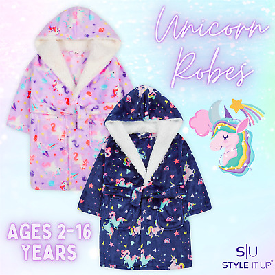 Girls Kids Plush Fleece Unicorn Dressing Gown Hooded Robe Sleepwear Soft & Cosy