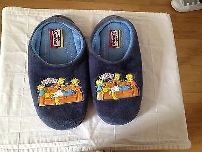 Marks & Spencer The Simpsons Boy's Blue Wide Slippers 100% Cotton Size 8/9 UK