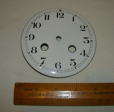 Antique White Enamel Clock Dial with 2 Keyholes - 105mm