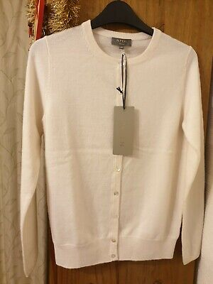N PEAL BNWT 100% Cashmere Girls/Ladies Cardigan XS White RRP £249.Xmas Bargain.