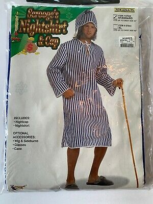Scrooge/'s Nightshirt and Cap Costume Mens Christmas Striped Shirt Adult Std-XL