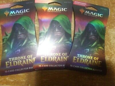 Magic The Gathering Throne Of Eldraine Collector Booster Pack Lot. × 3