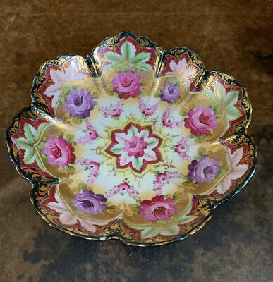 Antique Porcelain Japanese Moriage Hand Painted Gold Floral Bowl