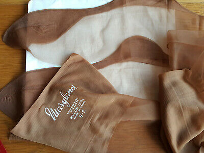 Vintage French Sheer Fully Fashioned Seamed Nylons Stockings Sz 9 - Tan FREE P&P