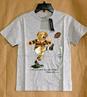 NEW Polo Ralph Lauren Boys S,M,L,XL Rugby Bear T-Shirt Grey Short Sleeve Tee