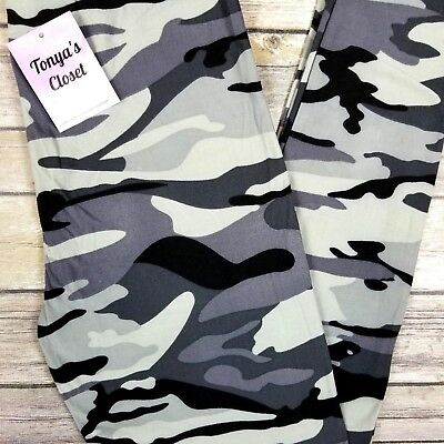 Gray Black Camo Leggings Camouflage Army Print Buttery Soft ONE SIZE OS