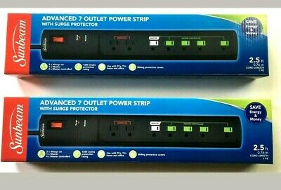 lot of 4 Sunbeam Advanced 7 Outlet Power Strip//Outlet With Surge Protector