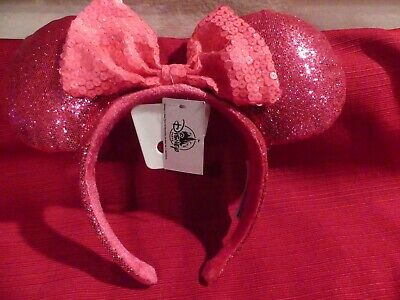NWT Disney Parks Minnie Mouse Sequin Bow Ears Imagination Hot Pink 2019 Headband