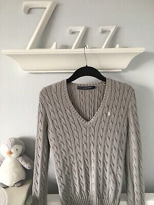 Ladies Ralph Lauren Sport GREY Cable Knit Jumper V Neck Size SMALL *NEW*