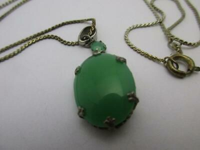 "sterling SILVER JADE  pendant necklace 64.5cm 25.5""  Vintage Art Deco c1920.k74"