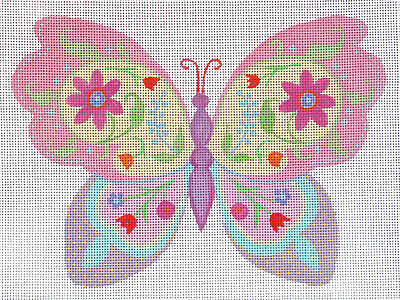 BOTANICAL BUTTERFLY  handpainted needlepoint canvas