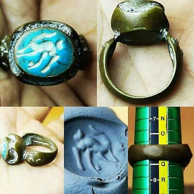 Near Eastern Old Turquoise stone Deer intaglio Lovely Ring  # 75