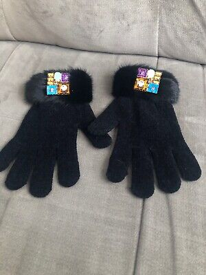 NWOT Mitchies Matchies Black Genuine Fur Cuff Gloves With Jeweled Embellishment