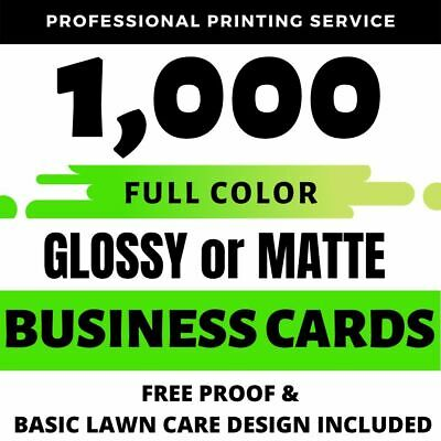 1000 Full Color LAWN CARE BUSINESS CARD Printing on 16pt Gloss or Matte Finish
