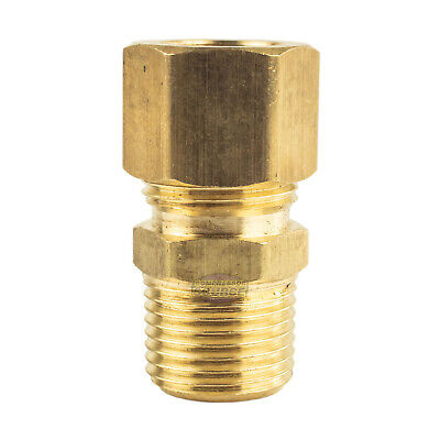 """1/2"""" OD x 3/8"""" Male NPT Connector Brass Compression Fitting for 1/2"""" OD Tube"""