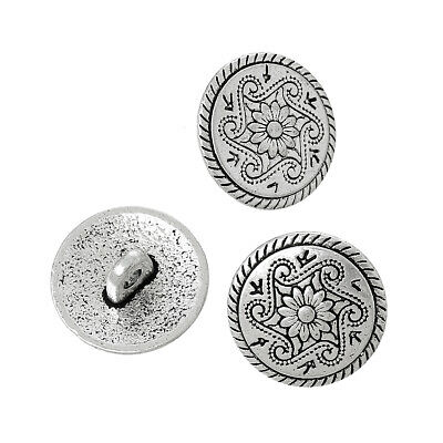 100Pcs Antique Silver Metal Shank Buttons Flower Carved Sewing DIY Findings