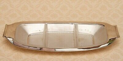 Marples & Co Sheffield Antique Silver Plated Frosted glass 3 dip dishes Tray