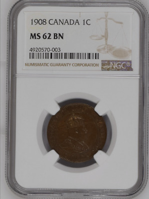 1908 Canada 1C NGC MS 62 BN One Large Cent Free Shipping!